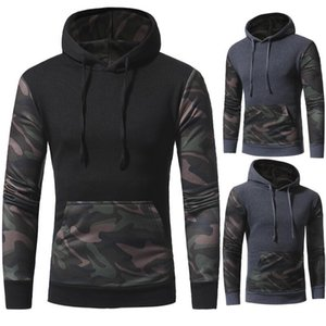 Wholesale 2018 Spring Men Hoodies Sweatshirt Fashion Camouflage Print Tracksuit Winter Casual Pullover Male Hooded Black Plus size XL