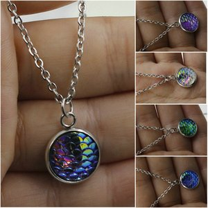 Wholesale 12Colors Silver Plated Women s Scale Bling Mermaid Pendant Disc Fish Dragon Necklace Lady Jewelry