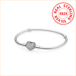 Wholesale pandora bracelet with charms resale online - Authentic Sterling Silver Heart Charms Bracelet For Pandora European Beads Bangle Wedding Gift Jewelry for Women with Original box