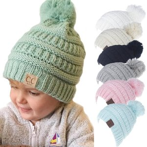 Wholesale Winter Knitted Wool Baby Hat Unisex Girl Boy Kids Folds Casual CC labeling Beanies Solid Color Hip-Hop Skullies Cap