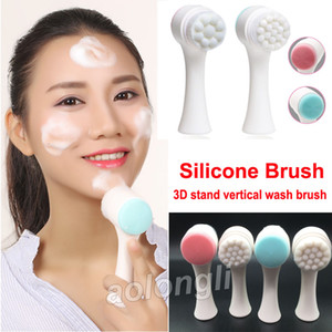 Wholesale face scrubbing for sale - Group buy Two sided Silicone wash face brush face scrub Clean Facial Pore Cleanser Body Cleaning Skin Massager beauty SPA Facial Care makeup Brushes