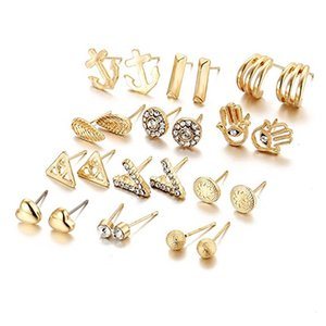 Wholesale 12 Pairs Vintage Alloy Rhinestone Love Heart V Shape Ear Stud Earrings Set Earring Punk Jewelry Women Gift Support FBA Drop Shipping H172F