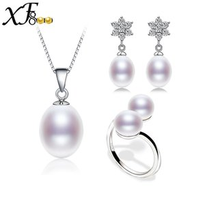 Wholesale 925 silver jewelry Natural pearl Bridal Jewelry sets freshwater real pearl necklace earring ring colors for choS99