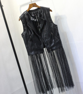 Women's cool fashion o-neck sleeveless PU leather patchwork gauze mesh bottom medium long coat vest SML