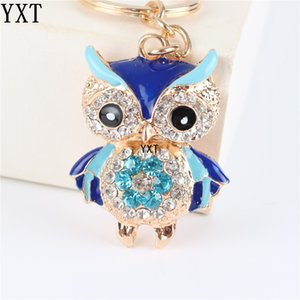 Wholesale Blue Owl Bird Crystal Charm Purse Handbag Car Key Ring Chain Party Wedding Birthday Creative Gift