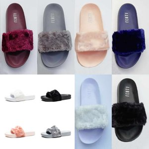 Wholesale High Quality Leadcat Fenty Rihanna Faux Fur Slippers Women Indoor Sandals Girls Fashion Scuffs Pink Black White Grey Slides With Box