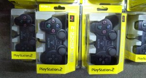 Wired Double vibration Shock Controller Gamepad Compatible for Playstation 2 PS2 Console Video Games Black Retail Packaging on Sale