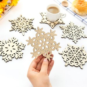Wholesale Snowflake Pad christmas Wood Coaster Christmas cup Mat Home Cup Drink Mug Tea Coffee Kitchen christmas Decorations