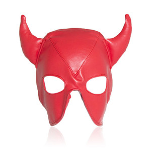 Wholesale sexing animals resale online - Sexy Red Adult Games Latex Faux Leather Sex Mask Men and Women Animal Bondage Fetish Mask Erotic Toys Sex Products For Couples