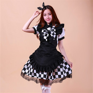 Wholesale Shanghai Story black and white Coffee hall attendant Japanese animation Cosplay clothing cos women girl maid lolita dress