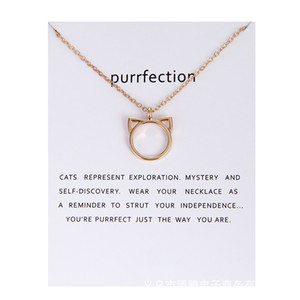 Wholesale High Quality NO Dogeared LOGO Fashion Jewelry Purrfection cat ear alloy pendant short necklace Women Mother Day Gift