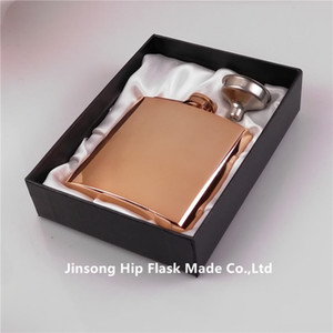 6 oz high quality 100% rose gold plate stainless steel hip flask