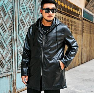 Wholesale Men's autumn winter Korean version of the European code trend boutique personality with a hat collar large size long coat XL-6XL