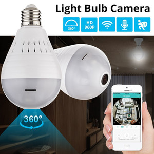 Wholesale Bulb Light Wireless P IP Camera Wifi Degree Security CCTV Camera Panoramic FishEye Night Vision Lamp Mini Camera YITUO