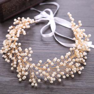 Bridal Pearl Headband Hair Jewelry Wedding Tiara Gold Hair Accessories Women Headbands With Yarn Leaf Headdress S919