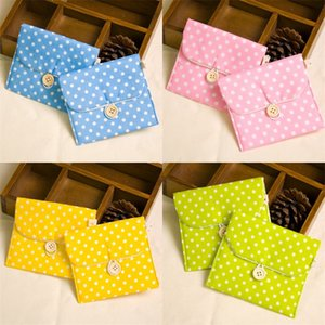 Wholesale Sanitary Napkin Storage Bag Polka Dot Printing Pouch Button Design For Women Bags Easy To Carry hj CB