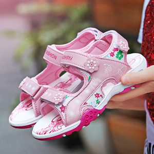 New soft leather summer girls shoes fashion elegant princess children sandals hook&Loop lovely baby kids toddlers Non-slip Hot products