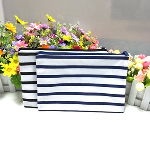 Wholesale black white stripe navy white stripe canvas coin purse in cotton canvas zip pouch direct from factory free ship by DHL