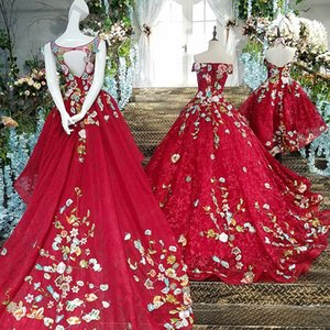 2019 Red Mother And Daughter Long Prom Dresses Lace Up Back Vestido Longo De Festa Appliques Lace Ball Gown Formal Dresses Real Photos on Sale