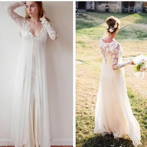 2019 New Chiffon V Neck Bohemian Lace Wedding Gowns Sheath Boho Wedding Dresses Transparent Long Sleeve Beach Empire Maternity Formal Dress
