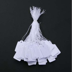 Wholesale 500PCs Bag Jewelry Price Tag with Display String lable custom printed clothing price tags white