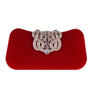 Wholesale Flower Crystal Evening Bag Clutch Bags Clutches Wedding Purse Rhinestones Wedding Handbags Red Blue Black Rose pink Evening Bag