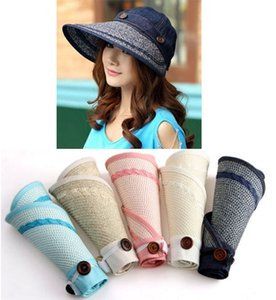 Fashion 2-way Woman wide brim summer beach sun visor Foldable Cloche Hat Cap