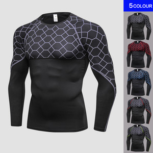2018 Brand Printing Long Sleeves Men's Sportswear Fitness Tights T-Shirt Training Underwear Compression Black Gym Shirt