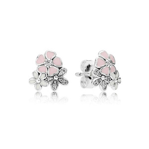 Wholesale Cute Pink Enamel flower Sterling Silver Stud Earring for Women fit Pandora Real Silver Jewelry Earrings gift