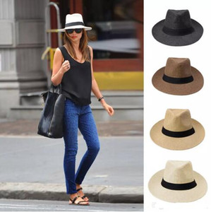 Wholesale kentucky derby hats for sale - Group buy fashion Wide Brim straw hats ladies sun hat summer straw hat men and women big cowboy hat Beach cap Colors