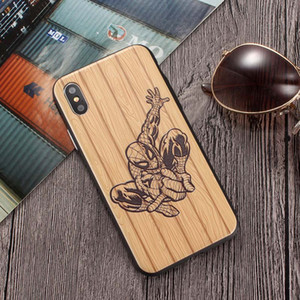 Wholesale For Apple iPhone X Xs Xs Max XR Plus Wooden Grain TPU Phone Cases light weight Washable Durable high quality phone case