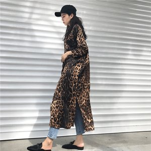 Wholesale Leopard print shirt dress women long sleeve causal loose split dress Fashion summer streetwear Button up korean dresses vestidso