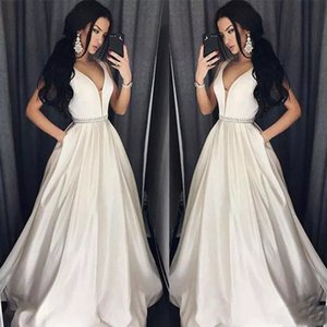 Wholesale Elegant Plus Size Prom Dresses A Line Floor length Long Formal Dress Evening Wear Beads Sash Robe De Soiree With Pocket Faster Shipping