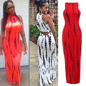 Wholesale Fashion Women Tank Dress Casual vestido Print Lady Summer Sexy Bandage Bodycon Stretch Party Clubwear Long Maxi Dress