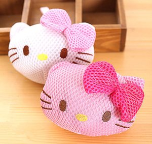 Wholesale New Hello kitty Puff Bath Shower Wash Body Exfoliate Puff Sponge Mesh Net Ball yey