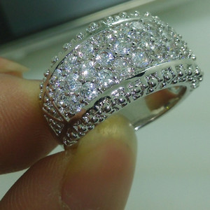 Wholesale choucong resale online - choucong Sparkling Jewelry KT Gold Filled White Stone A Zircon stone Band Wedding Ring Sz Gift