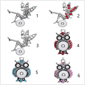Wholesale Noosa Owl Assorted mm Snap Buttons Charms Crystal Heart Multi Pendant Necklaces Stainless Steel Chain Jewelry
