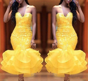 Yellow Sweetheart prom dresses Lace Appliques Organza Ruffles Mermaid Abendkleider Tea Length Cocktail Party elegant evening formal dresses on Sale
