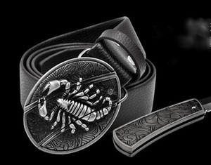 Novelty Cowskin Leather belt Delicate personality belt buckle pattern Scorpion Lucky Cross with Defence Knifs