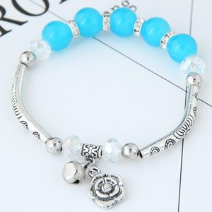 Wholesale bell flowers resale online - Bohemia Original Jewelry Accessories Vintage Retro Crystal Opal Beads Balls Flowers Bells Wrist Elastic Chain Charn Wrap Bracelets For Women