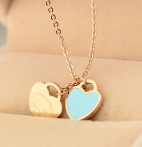 Wholesale 316L Stainless steel chain necklace with enamel cm heart for women and mother s day gift jewelry in cm Pendant Necklaces