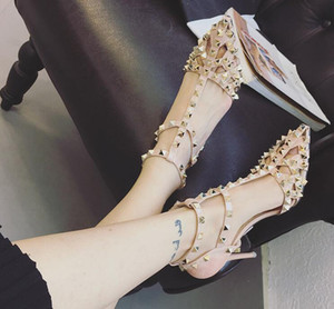 Wholesale Brand Design Stylish women high heels dress shoes party fashion rivets girls sexy pointed toe shoes buckle platform pumps wedding shoes