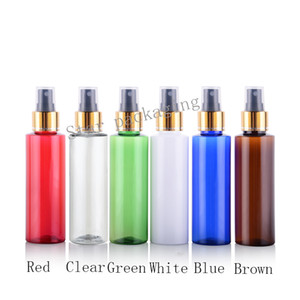 Wholesale 50X100ml gold collar aluminum makeup setting spray pump perfume bottles for cosmetic packaging plastic spray bottles with pump