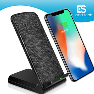 Wholesale 2 Coils Desktop Fast Qi Wireless Charger Holder Stand Pad For Iphone plus X Samsung S8 Plus Universal Fast portable Charger V A V A