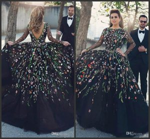 Wholesale 2018 New Evening Dresses Long Sleeves Floral Embroidery Jewel Neck Plus Size Black Prom Party Dresses Formal Gown With Backless