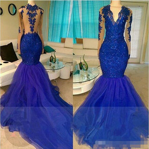 Royal Blue 2018 Mermaid Prom Dresses Sexy Long Sleeves Illusion Bodice Formal Evening Gowns Arabic Party Gowns on Sale