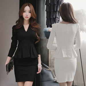 Wholesale New korean fashion spring autumn women s OL work office v neck solid coloe long sleeve slim waist ruffles patchwork pencil dress