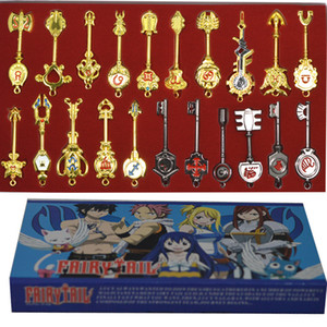 21pcs set Fairy Tail Lucy Key Keychain Scale & Pink Tattoo Heartfilia sign of the zodiac gold