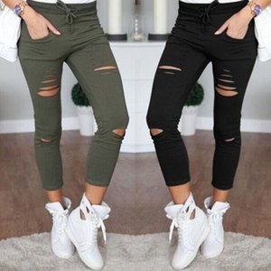 Wholesale New Skinny Jeans Women Denim Pants Holes Destroyed Knee Pencil Pants Casual Trousers Black White Stretch Ripped Jeans