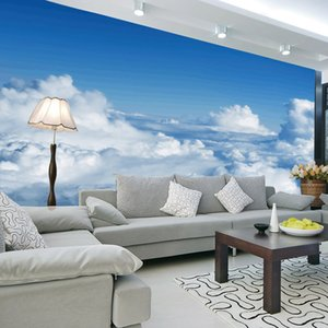 Wholesale Television Background Wallpaper D Seamless Nonwoven Fabric Bedroom Mural Blue Sky White Clouds Wall Sticker Home Decoration dy bb